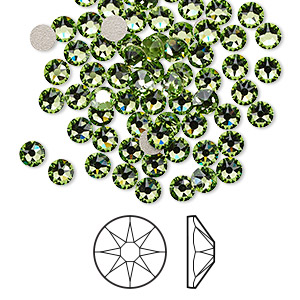 flat back, swarovski crystal rhinestone, peridot, foil back, 3.8-4mm xirius rose (2088), ss16. sold per pkg of 144 (1 gross).