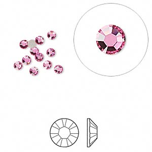 flat back, swarovski crystal rhinestone, rose, foil back, 2.5-2.7mm xilion rose (2058), ss9. sold per pkg of 12.