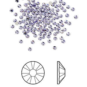 flat back, swarovski crystal rhinestone, tanzanite, foil back, 1.7-1.9mm xilion rose (2058), ss5. sold per pkg of 1,440 (10 gross).