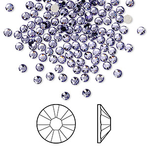 flat back, swarovski crystal rhinestone, tanzanite, foil back, 2.5-2.7mm xilion rose (2058), ss9. sold per pkg of 144 (1 gross).