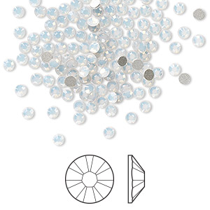 flat back, swarovski crystal rhinestone, white opal, foil back, 2.5-2.7mm xilion rose (2058), ss9. sold per pkg of 144 (1 gross).