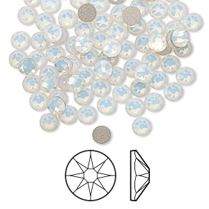 flat back, swarovski crystal rhinestone, white opal, foil back, 3.8-4mm xirius rose (2088), ss16. sold per pkg of 144 (1 gross).