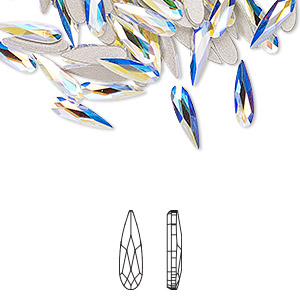 flat back, swarovski crystals rhinestone, crystal passions, crystal ab, foil back, 10x2.8mm faceted raindrop (2304). sold per pkg of 30.