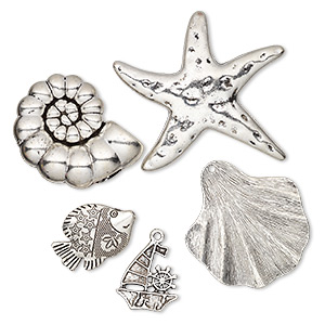 focal / bead / charm, antique silver-plated pewter (zinc-based alloy), 24x22mm-59x55mm single- and double-sided assorted sea life. sold per pkg of 5.