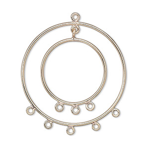 focal, 14kt gold-filled, 32mm double round, 9 loops. sold per pkg of 2.