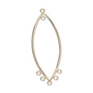 focal, 14kt gold-filled, 37x15mm oval, 6 loops. sold per pkg of 2.