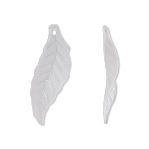 focal, acrylic, frosted clear, 30x10mm leaf. sold per pkg of 100.