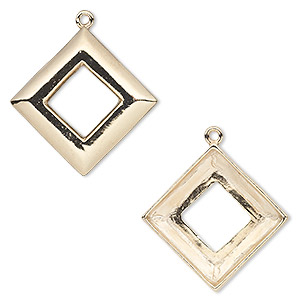 focal, almost instant jewelry, gold-plated pewter (tin-based alloy), 30x30mm open diamond with 20x20mm square ring setting. sold individually.