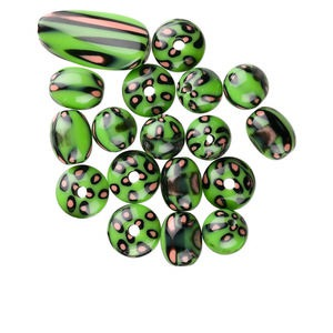 focal and bead, acrylic, green / black / orange, assorted size and shape with dots and lines design, 2-3.5mm hole. sold per 19-piece set.