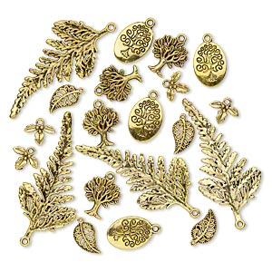 focal and charm, antique gold-finished pewter (zinc-based alloy), 14x10mm-59x29mm single- and double-sided assorted leaf and tree. sold per pkg of 20.