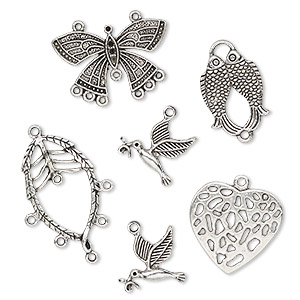 focal and charm, antiqued silver-finished pewter (zinc-based alloy), assorted. sold per pkg of (4) 6-piece sets.