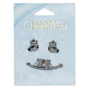 focal and charm, gunmetal-finished pewter (zinc-based alloy), 36x12mm owls on a perch 2 loops and 13x12mm left- and right-facing owl. sold per 3-piece set.