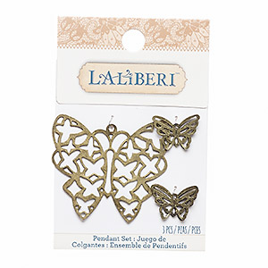 focal and charm, laliberi™, antiqued brass-finished steel, 20x15mm and 51x46mm butterfly. sold per pkg of 3.