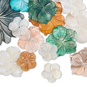 focal and component mix, mother-of-pearl shell (natural / bleached / dyed), mixed colors, 17x17mm-49x44mm carved flower, mohs hardness 3-1/2. sold per pkg of 25.