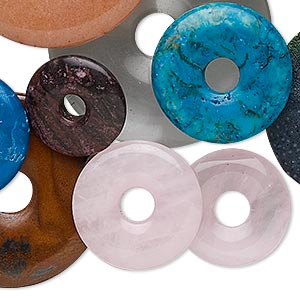 focal and component mix, multi-gemstone (natural / dyed) and glass, mixed colors, 9-50mm round donut. sold per 1-pound pkg, approximately 24-50 pieces.