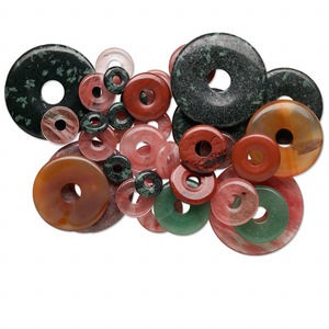 focal and component mix, multi-gemstone (natural / manmade) and glass, mixed sizes, 15-50mm round donut. sold per 1/2 pound pkg, approximately 20-30 pieces.