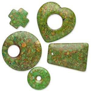 focal and drop mix, mosaic turquoise (dyed / assembled), green, 20x20mm-41x40mm mixed shape, c- grade, mohs hardness 3-1/2 to 4. sold per pkg of 5.