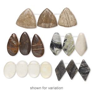 focal and drop mix, multi-gemstone (natural / coated) and glass, mixed colors, 16x12mm-40x25mm mixed shape with flat back, c grade, mohs hardness 3 to 7. sold per pkg of (3) 3- to 5-piece sets.
