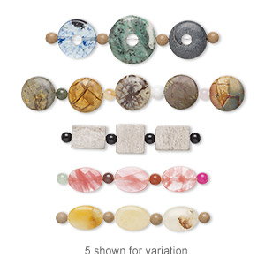 focal and drop mix, multi-gemstone (natural), 24x15mm-30x18mm mixed shape with flat back, c grade, mohs hardness 3 to 7. sold per pkg of (3) 3- to 5-piece sets.