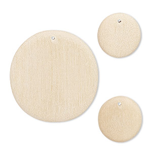 focal and drop, wood (natural), 19mm and 38mm hand-cut flat round. sold per pkg of 3.