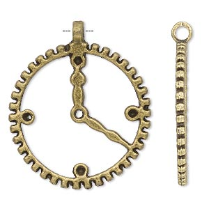 focal, antique brass-plated pewter (zinc-based alloy), 30mm single-sided clock face with open gear wheel and (5) pp18 settings. sold per pkg of 4.