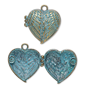 focal, antique copper-finished pewter (zinc-based alloy), green patina, 31x30mm double-sided hinged heart locket with angel wing and magnetic closure. sold individually.