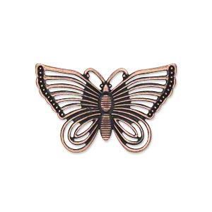 focal, antique copper-plated steel, 30x18mm single-sided fancy butterfly. sold per pkg of 24.