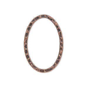 focal, antique copper-plated steel, 30x20mm double-sided hammered flat open oval. sold per pkg of 8.