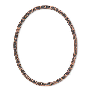 focal, antique copper-plated steel, 40x30mm double-sided hammered flat open oval. sold per pkg of 6.