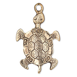 focal, antique gold-finished pewter (zinc-based alloy), 39x28mm single-sided turtle. sold per pkg of 4.