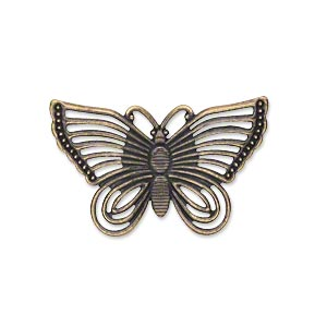 focal, antique gold-plated steel, 30x18mm single-sided fancy butterfly. sold per pkg of 24.
