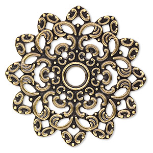 focal, antique gold-plated steel, 47x47mm single-sided fancy flower. sold per pkg of 6.
