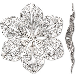 focal, antique silver-finished brass, 42x42mm flower with cutout design. sold per pkg of 4.