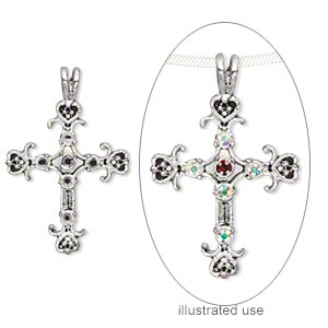 focal, antique silver-finished pewter (zinc-based alloy), 35x27mm single-sided cross with (5) pp16 and (1) pp18 settings. sold per pkg of 6.