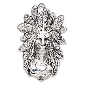 focal, antique silver-finished pewter (zinc-based alloy), 58x37mm single-sided native american. sold individually.