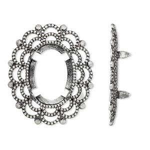 focal, antique silver-plated brass, 30x25mm oval with 18x13mm 4-prong oval setting. sold per pkg of 12.