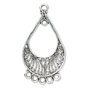 focal, antique silver-plated pewter (tin-based alloy), 39x26mm teardrop, 6 loops. sold per pkg of 2.