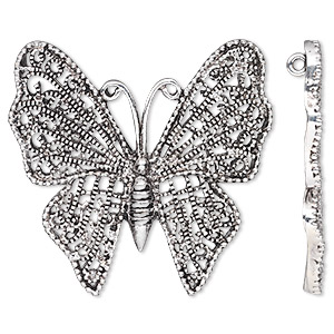 focal, antique silver-plated pewter (zinc-based alloy), 54x52mm single-sided butterfly with hidden loops. sold per pkg of 2.