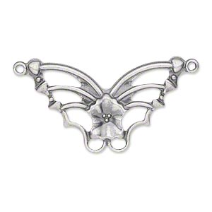 focal, antique silver-plated steel, 33x19mm single-sided fancy butterfly. sold per pkg of 24.