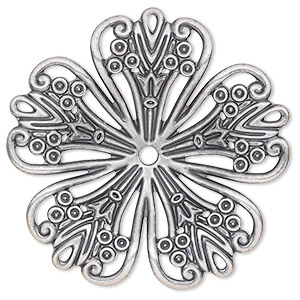 focal, antique silver-plated steel, 42x42mm single-sided concave fancy flower with 2.5mm center hole. sold per pkg of 6.