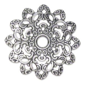 focal, antique silver-plated steel, 46x46mm single-sided wavy flower with 6mm center hole. sold per pkg of 6.