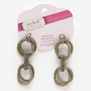 focal, antiqued brass-finished steel, 64x25mm with links. sold per pkg of 2.