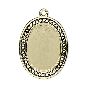focal, antiqued gold-finished pewter (zinc-based alloy), 33x26mm oval with beaded design and 25x18mm non-calibrated oval setting. sold individually.