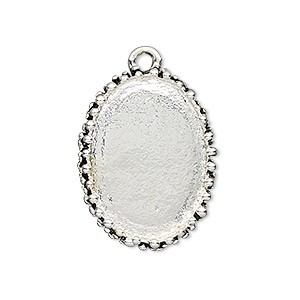 focal, antiqued silver-finished pewter (zinc-based alloy), 30x22mm oval with beaded design and 25x18mm non-calibrated oval setting. sold individually.