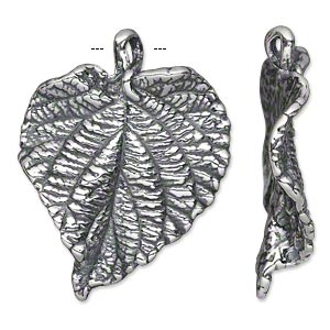 focal, antiqued silver-plated pewter (tin-based alloy), 37x28.5mm single-sided textured leaf. sold individually.
