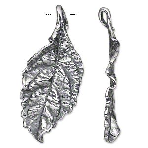 focal, antiqued silver-plated pewter (tin-based alloy), 47.5x21mm single-sided textured leaf. sold individually.