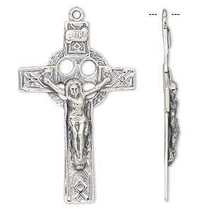 focal, antiqued sterling silver, 38x25mm celtic crucifix. sold individually.