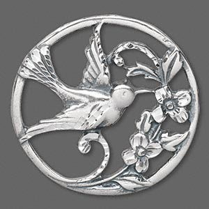 focal, antiqued sterling silver, 42x3mm round with bird. sold individually.