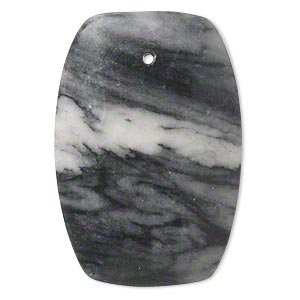 focal, black and grey marble (natural), 44x29mm-44x30mm rounded flat rectangle with flat back, c grade, mohs hardness 3. sold individually.