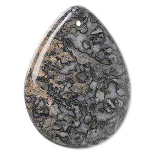 focal, black lace marble (natural), 50x37mm hand-cut top-drilled teardrop with flat back, b grade, mohs hardness 3. sold individually.